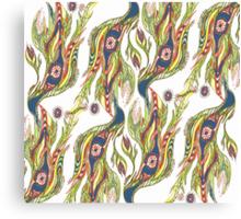 Flowers and Birds Folk Art Pattern Canvas Print