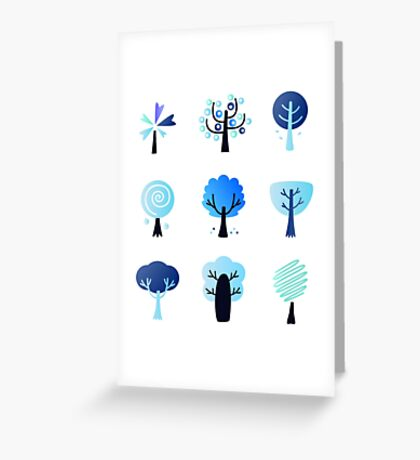 Abstract trees collection : winter blue Greeting Card