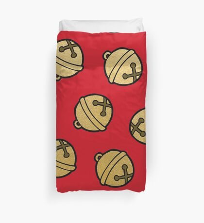 Jingle Bells Christmas Pattern in Gold and Red Duvet Cover