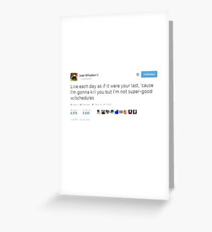 Joss Whedon Tweet Design Greeting Card