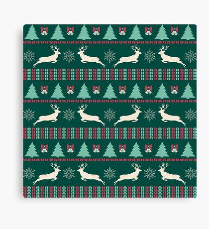 Christmas Pattern Green Canvas Print