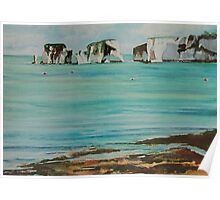 Old Harry Rock Watercolour Poster