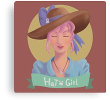 Hat Girl Candy Color Canvas Print