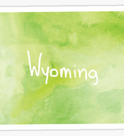 Green Watercolor Wyoming Sticker