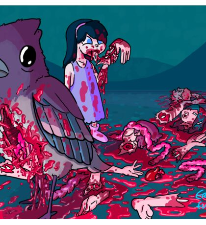 Bird with limbs falling out of a stomach hole and also a cannibal girl Sticker