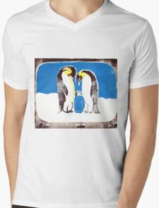 Penguins on tv Mens V-Neck T-Shirt