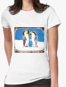 Penguins on tv Womens Fitted T-Shirt