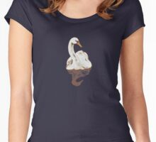 """Less Worry, More Grace"" Swan Women's Fitted Scoop T-Shirt"
