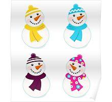 Vector cute snowman collection : 4 snowmens Poster