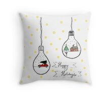 Holiday Lightbulbs Throw Pillow