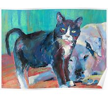 Charlie and Caroljean (cat & dog) Poster