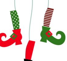 Cute colorful Santa legs handing : green red Sticker