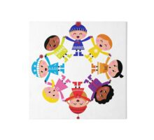Colorful winter children in group : colorful art Gallery Board