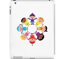 Colorful winter children in group : colorful art iPad Case/Skin