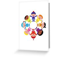 Colorful winter children in group : colorful art Greeting Card