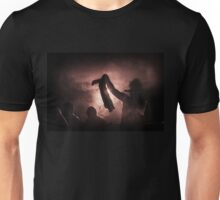 silhouette through the fog and light Unisex T-Shirt