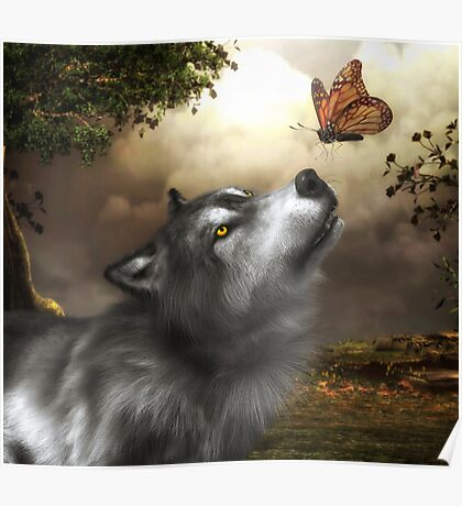 Butterfly Wolf Poster