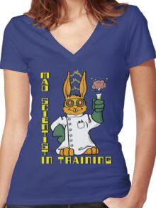 Mad Scientist In Training Bunny Women's Fitted V-Neck T-Shirt
