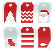 Beautiful Tags set for Christmas / RED Poster