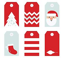 Beautiful Tags set for Christmas / RED Photographic Print