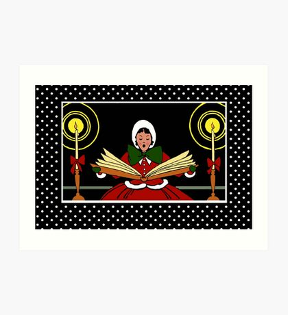 Girl Christmas Singing, Polka Dot Snow Art Print
