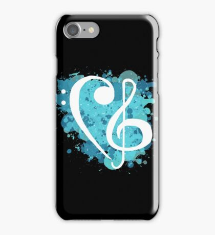 Treble & Bass Cleff splatter design iPhone Case/Skin
