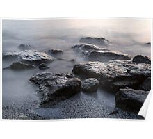 Rough and Soft - Smoky Waves and Rocks on the Beach  Poster