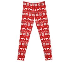 Bouvier des Flandres Silhouettes Christmas Sweater Pattern Leggings