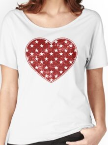 Vintage Patriotic Star Pattern Heart  Women's Relaxed Fit T-Shirt