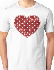 Vintage Patriotic Star Pattern Heart  Unisex T-Shirt