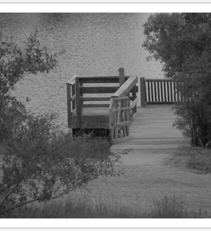Boat Dock and Pond - Black & White Sticker
