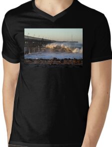 Ocean Wave Storm Pier Mens V-Neck T-Shirt