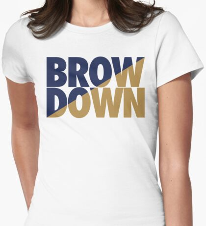 Brow Down (Blue/Gold) Womens Fitted T-Shirt