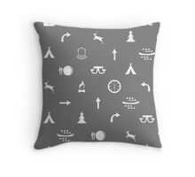 Campground Icons - Family Road Trip Throw Pillow