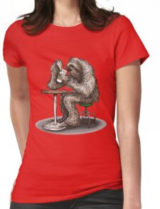 Steve the Sloth Taking a Coffee Break Womens Fitted T-Shirt