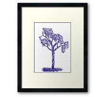 Blue Pen Hand Drawn Tree Drawing Framed Print