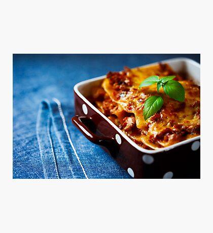 Italian Food. Hot tasty Lasagna plate. Photographic Print