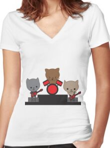 Kitty Cat Kawaii Band Women's Fitted V-Neck T-Shirt