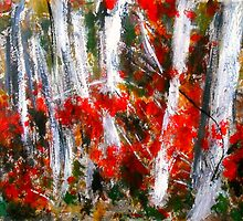 Vermont Fall Autumn Red Maple Leaves Silver Birch Acrylic Painting On Paper by JamesPeart