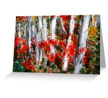 Vermont Fall Autumn Red Maple Leaves Silver Birch Acrylic Painting On Paper Greeting Card