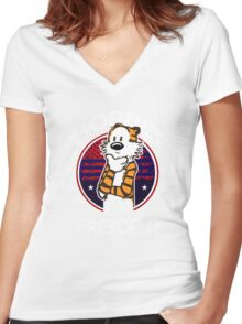 Calvin And Hobbes Camera Pose Women's Fitted V-Neck T-Shirt