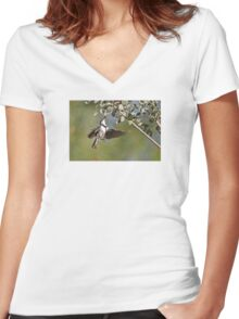 Banded Honeyeater ~ Dinner the hard way  Women's Fitted V-Neck T-Shirt