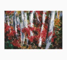 Vermont Fall Autumn Red Maple Leaves Silver Birch Acrylic Painting On Paper T-Shirt