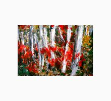 Vermont Fall Autumn Red Maple Leaves Silver Birch Acrylic Painting On Paper Unisex T-Shirt