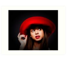 AMY & THE RED HAT   ... Art Print