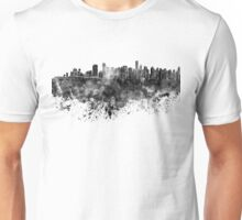 Vancouver skyline in black watercolor on white background Unisex T-Shirt