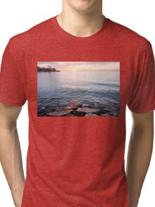 Rough and Soft - Silky Water and Hard Rocks at Sunrise Tri-blend T-Shirt