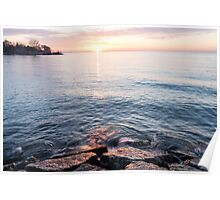 Rough and Soft - Silky Water and Hard Rocks at Sunrise Poster