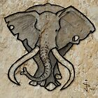 Cave Art - Bull Elephant by Jan Szymczuk