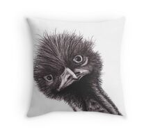 Funny Little Emu Throw Pillow